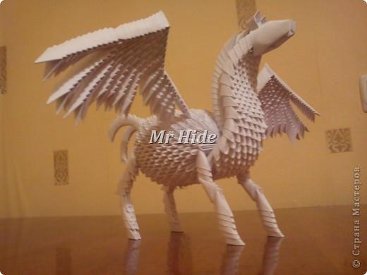 Оригами лошадь из треугольных модулей